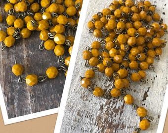 SALE BC26 Handmade Linked Beaded Chain with Goldenrod 6mm Faceted Czech Glass Beads