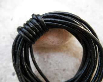 By the Yard - 1mm - Leather Cord Round - Black