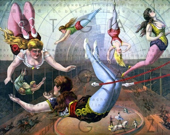 ANTIQUE CIRCUS POSTER. Only Women's Trapeze Show. Vintage Trapeze Artists Illustration. Vintage Circus Digital Download.