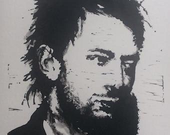 Thom Yorke (Radiohead) Lino 15cm x 20cm - Limited run of 30