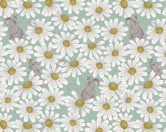 Love Me Love Me Not A271.2 - Little mouse & daisies on duck egg Lewis and Irene Patchwork Quilting Fabric