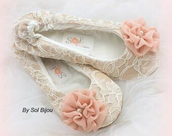 Ballet Flats Shoes Blush Champagne Vintage Wedding Flats Ballet Slippers Ballerina Shoes for Brides Wide Shoes Flats for Brides