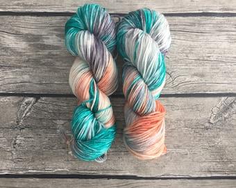 Raindrops On Roses - Superwash Merino Hand Dyed Yarn - Worsted Weight Yarn - Hand Dyed Yarn - Indie Dyed Yarn