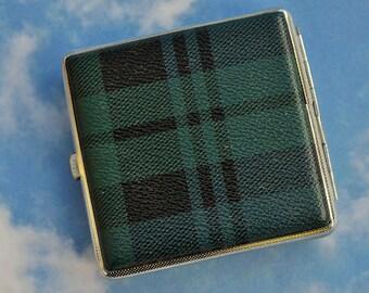 Cigarette Case Blackwatch Tartan Pattern Vintage Tobacciana Collectible Case Man Gift Card Holder Photo Store Scottish Interest Gift Idea!