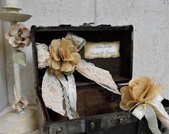 Advice For The Bride And Groom Wedding Trunk / Rustic Advice Box / Burlap And Lace Wedding Decorations / Rustic Wedding Decor / Advice Trunk