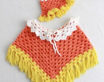 Candy Corn Poncho Crochet Pattern PDF