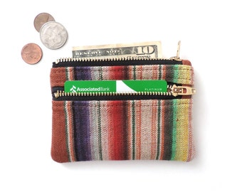 Slim Wallet Pouch Double Zipper Coin Purse Stripe