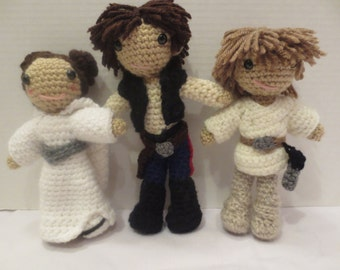 Luke, Han Solo, and Leia, original Star Wars trilogy characters crochet doll set