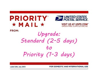 STANDARD to PRIORITY shipping UPGRADE on an existing order-Only applies to shipping time not production time