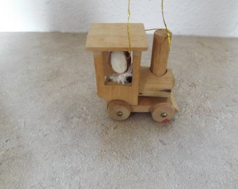 Small Wooden Train Ornament With Little Girl