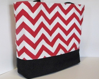 Chevron Tote Bag . Red White and Black chevron beach bag . Standard size .  bridesmaid gift . Teacher tote bag . MONOGRAMMING Available