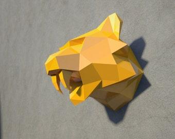 Tiger Head - 3D papercraft model. Papercraft animal, Printable Mask, Instant Pdf download, Paper Mask, DIY template