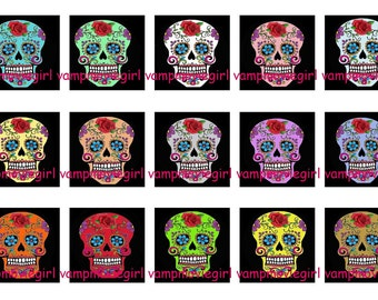INSTANT DOWNLOAD...Colorful Sugar Skulls...1 Inch Square Images Collage Sheet for Glass Pendants ...Buy 3 get 1