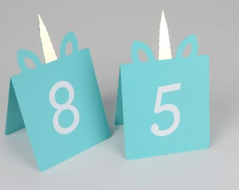Unicorn Table Numbers Set of 10