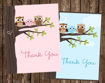 Owl, Baby Shower, Thank You Cards, Girl, Boy Pink, Boy, Tree, Top, Co Ed, Family, Coed, Hearts, Hoot, 20 Folding Notes, FREE Shipping