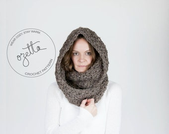 Crochet Pattern - Chunky Infinity Scarf, Cowl, Textured Scarf, Hooded Cowl - The Oregon Infinity Scarf