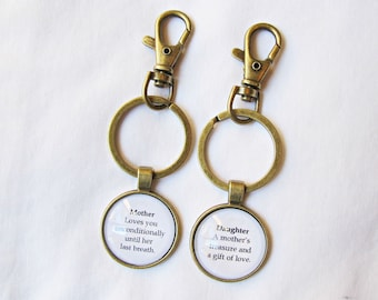Mother Daughter Keyring Set Planner Charm - Keychain Quote Family Bag Dangle Journal Relationships - Mum Mom Typography Gift Mother's Day