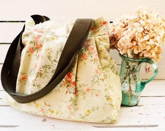 Canvas Bag with Sweet Pink Rose figures - Double  Strap Shoulder bag / Pleated Shoulder Bag /Cross Body Messenger Bag