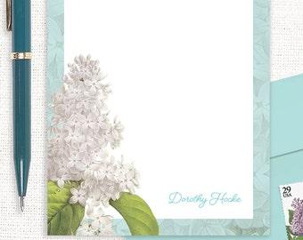 personalized notePAD - GRANDMA'S LILACS in AQUA - custom stationery - stationary - botanical - floral - flower pad