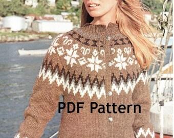 Vintage Icelandic Womens Pullover Sweater Nordic Pattern Digital Download