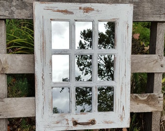 Farmhouse Window Mirror / Shabby Chic Mirror / Large Distressed White Wall Mirror / Large Wall Mirror / Rustic Farmhouse Window Pane Mirror