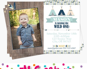 Boy Tribal Birthday Party Invitation - Little Chief Birthday Party - Printable Photo Invite - Wild One First Birthday Party- Teepee Arrow