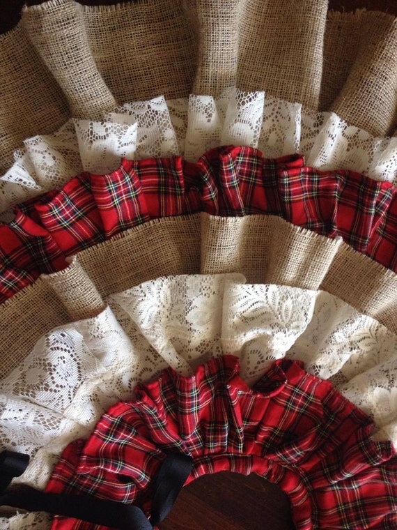 Flannel Burlap Lace Country Christmas Tree Skirt Buffalo Check