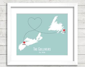 8x10 Canadian Provinces Love Map - Two Provinces, One Print - Berwick, Nova Scotia - Paradise, Newfoundland -Canadian Family Map-East Coast