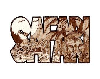 Safari Word Embroidered Flour Sack Hand/Dish Towel