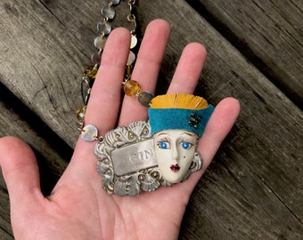 the flapper: a lush, upcycled necklace with turquoise and yellow accents - 771