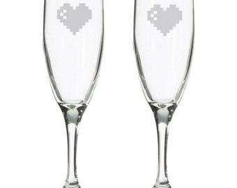 Player 1 Player 2 Geeky Wedding retro 8 bit champagne flutes, Retro gaming toasting glasses, nerdy wedding gift, 8 bit, comic book wedding