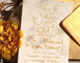 Gold Save the Date . Gold Save the Date Announcement . Classic Gold Save-the-Date . Gold Wedding Invitation Suite . Elegant Save the Date