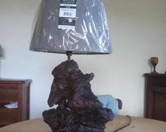 Semi wood stump lamp Burns varnish