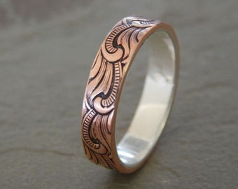 PAISLEY Silver & Copper 5mm // Men's Wedding Ring // Women's Wedding Ring // Men's Wedding Band // Women's Wedding Band // Unique Band