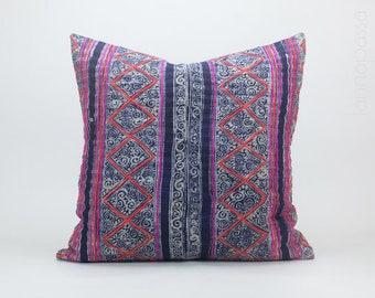 Vintage Hemp Hmong Hill Tribe Textile Indigo Batik Throw Pillow Cushion Cover : 20x20 | Handwoven Handspun Pink Red Rustic Striped Zig Zag