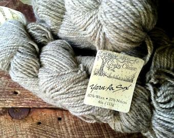 Yarn for socks - worsted weight wool sock yarn, yarn for sox, brown gray sock yarn, knitting, taupe
