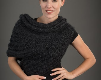 Huntress Cowl Caplet Scarf: PDF Knitting Pattern-Halloween costume-Post Apocalyptic Knitting Sweater Cowl