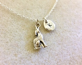 Personalized wolf necklace for men wolf necklace for women wolf lovers wolf girl wolf howling at the moon wolf gifts wolf jewelry