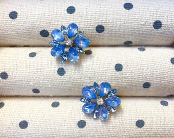 Blue Flower Stud Earrings, Blue Stud Earrings, Spring Earrings, Flower Stud Earrings