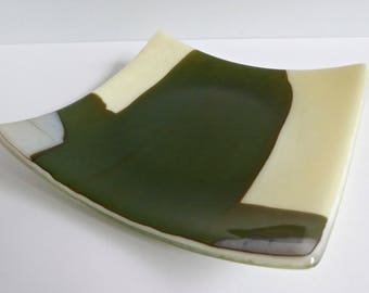Fused Glass Plate in Streaky French Vanilla, Aqua and Brown by BPRDesigns