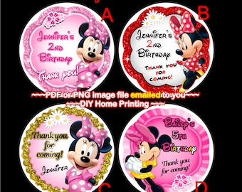 Minnie mouse birth etsy minnie thank you sticker minnie birthday minnie favor tag minnie gift tag stopboris Images