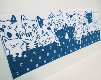 Cat lovers gift, noren fabric, japanese tenugui, Maneki Neko Fortune Cats, cat fabric, kimono fabric, kawaii fabric, Japanese quilt fabric