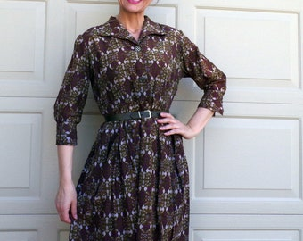 BAROQUE PRINT DRESS 1960's midcentury shirtwaist 60's M