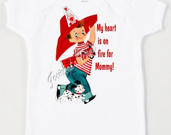 Firetruck Boy Shirt - Mommy Me Boy Shirt - Valentine Boy Tee - Fireman Custom Tshirt - Toddler Retro Tee - Vintage Firetruck Personalized