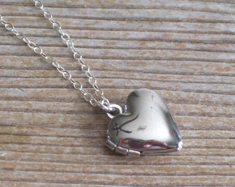 Sterling Silver Mini Heart Locket Necklace, Silver Heart Locket, Mini Locket Pendant Necklace, Layering Necklace, Love Locket