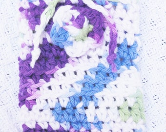White Purple Blue and Green Crocheted Soap Bag Pansy Soap Saver Cotton with Drawstring by Distinctly Daisy