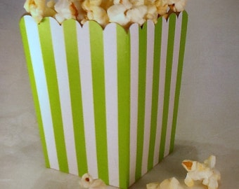 24 Mini Lime Green and White Striped popcorn boxes treats favors