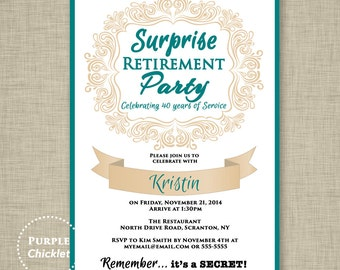 Surprise Retirement Invitation Teal and Beige Farewell Celebration Invite Womans Elegant Party Printable Invite 5x7 Digital JPG File 11