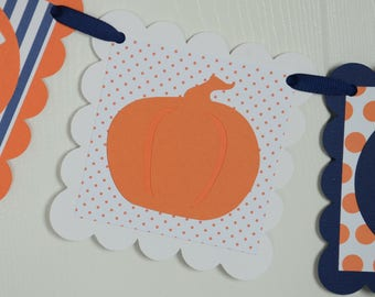 Happy Birthday Banner, Pumpkin Theme, Pumpkin Banner, Navy blue and Orange
