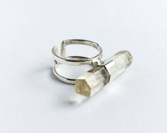 Crystal ring, silver stone ring, unique ring, rhinestone ring, large stone ring, boho ring, bis stone ring, ring for woman, natural stone